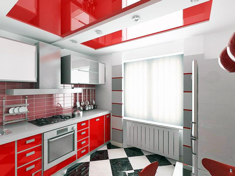 Натяжные потолки на кухне варианты дизайна